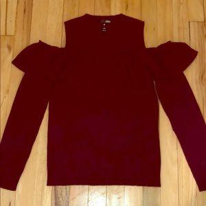 Aqua Cashmere cold shoulder ruffle sweater.